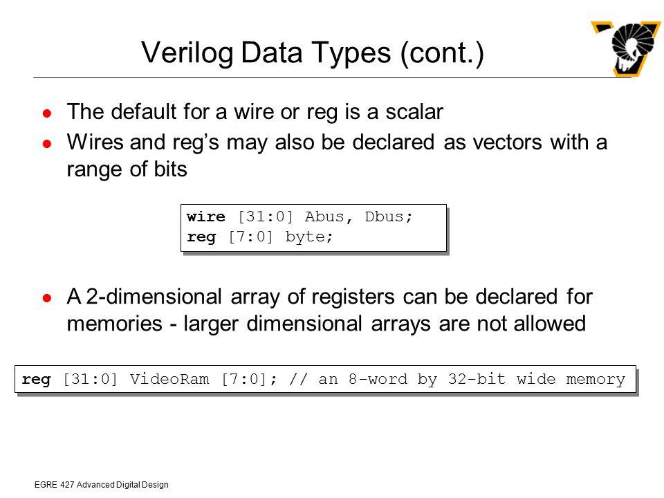 Verilog Data Types (cont.)