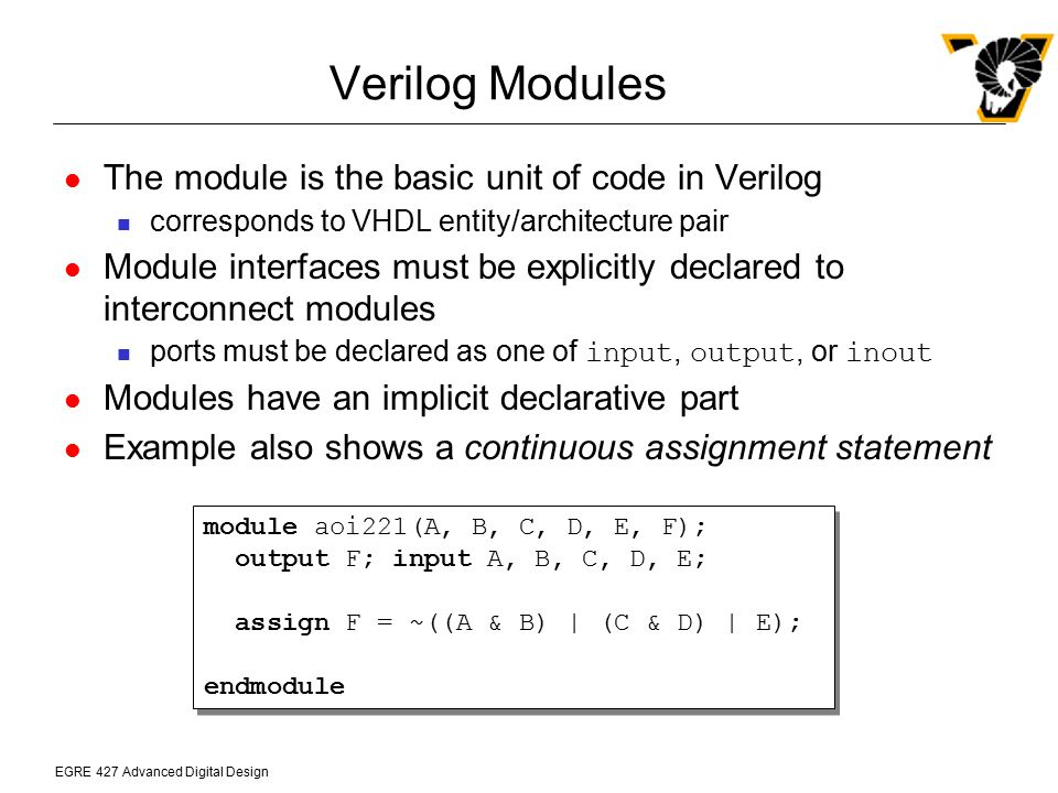 Verilog Modules The module is the basic unit of code in Verilog