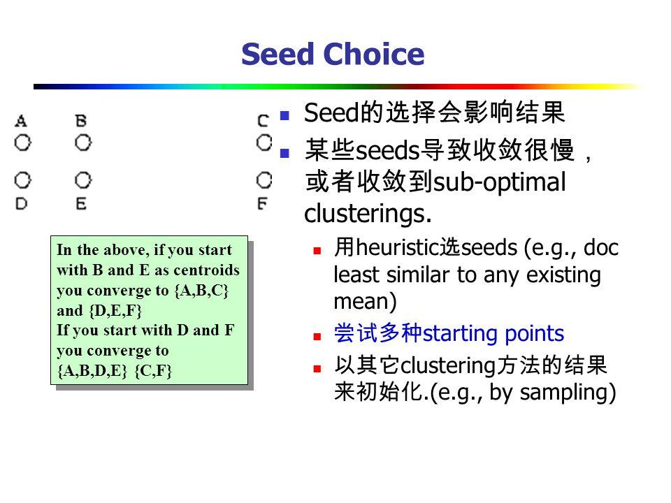 Seed Choice Seed的选择会影响结果 某些seeds导致收敛很慢,或者收敛到sub-optimal clusterings.