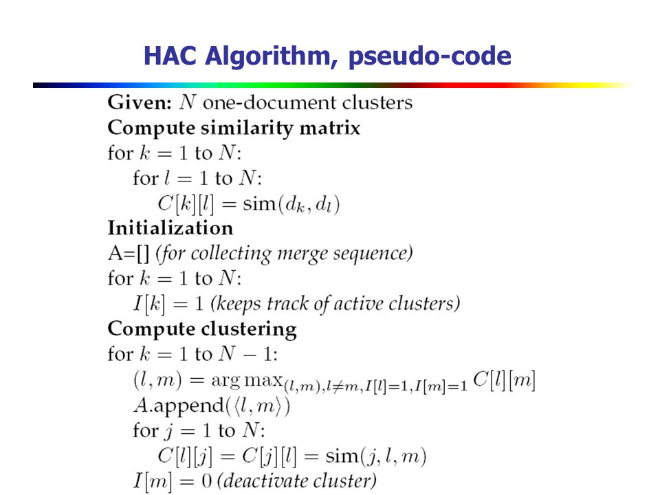 HAC Algorithm, pseudo-code