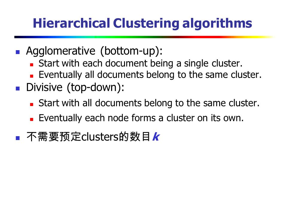 Hierarchical Clustering algorithms