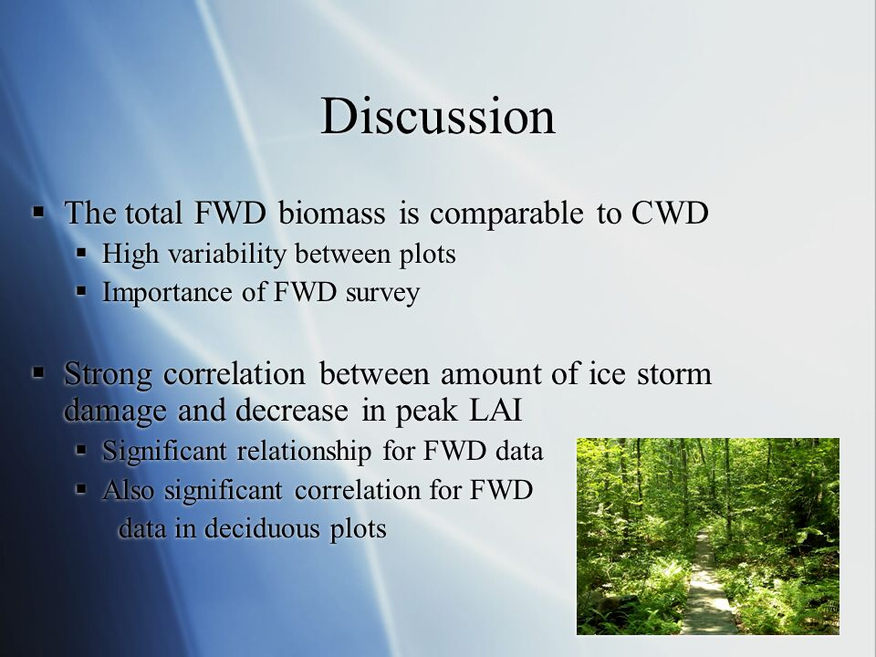 Discussion The total FWD biomass is comparable to CWD