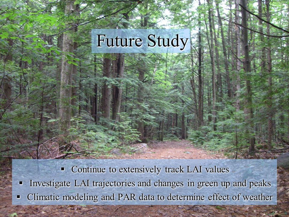 Future Study Continue to extensively track LAI values