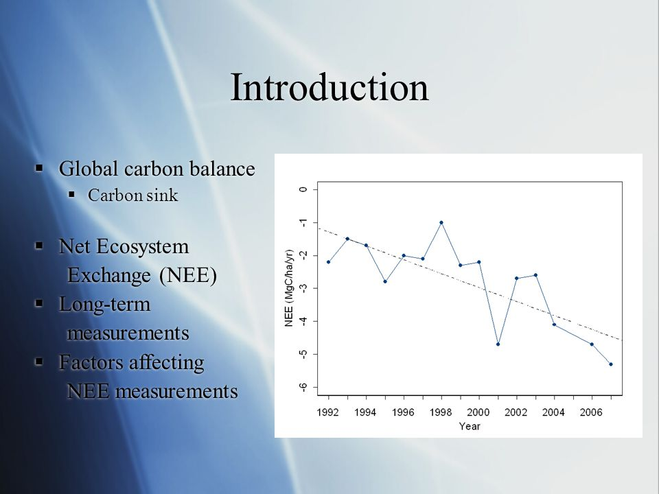 Introduction Global carbon balance Net Ecosystem Exchange (NEE)