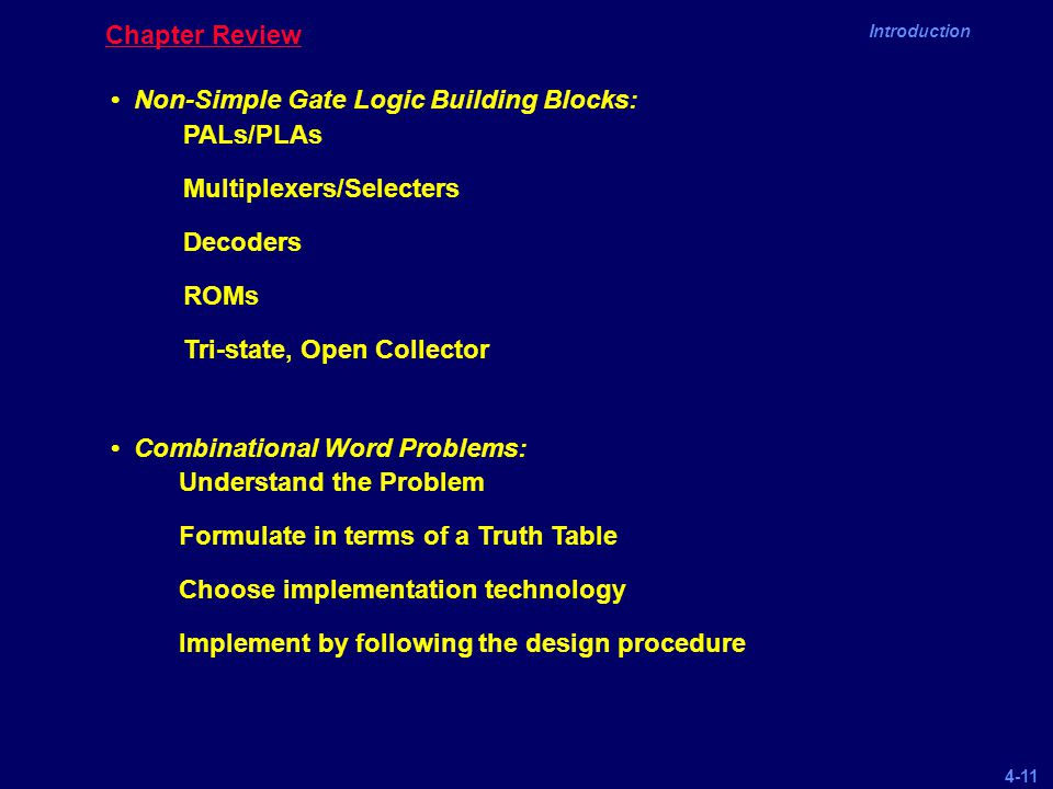 Chapter Review • Non-Simple Gate Logic Building Blocks: • Combinational Word Problems: PALs/PLAs.