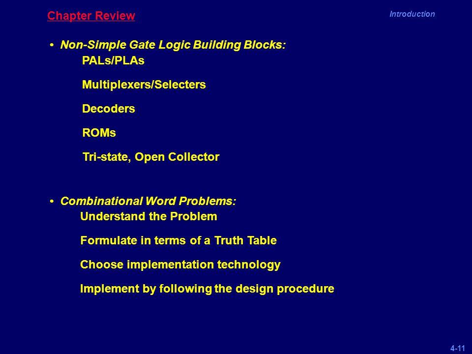 Chapter Review • Non-Simple Gate Logic Building Blocks: • Combinational Word Problems: PALs/PLAs.