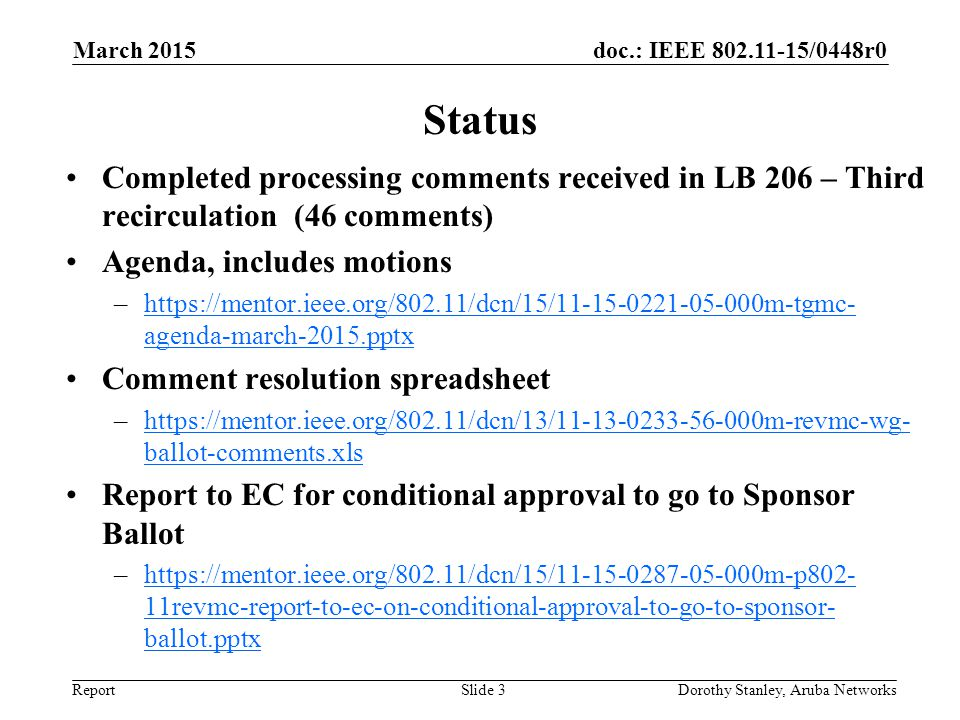 March 2015 doc.: IEEE 802.11-15/0448r0. March 2015. Status. Completed processing comments received in LB 206 – Third recirculation (46 comments)
