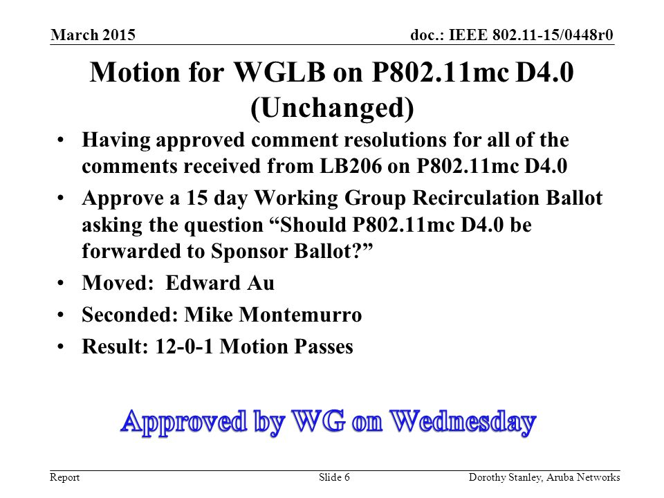 Motion for WGLB on P802.11mc D4.0 (Unchanged)