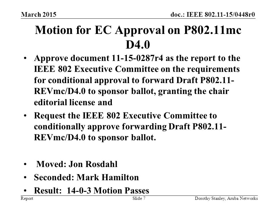 Motion for EC Approval on P802.11mc D4.0