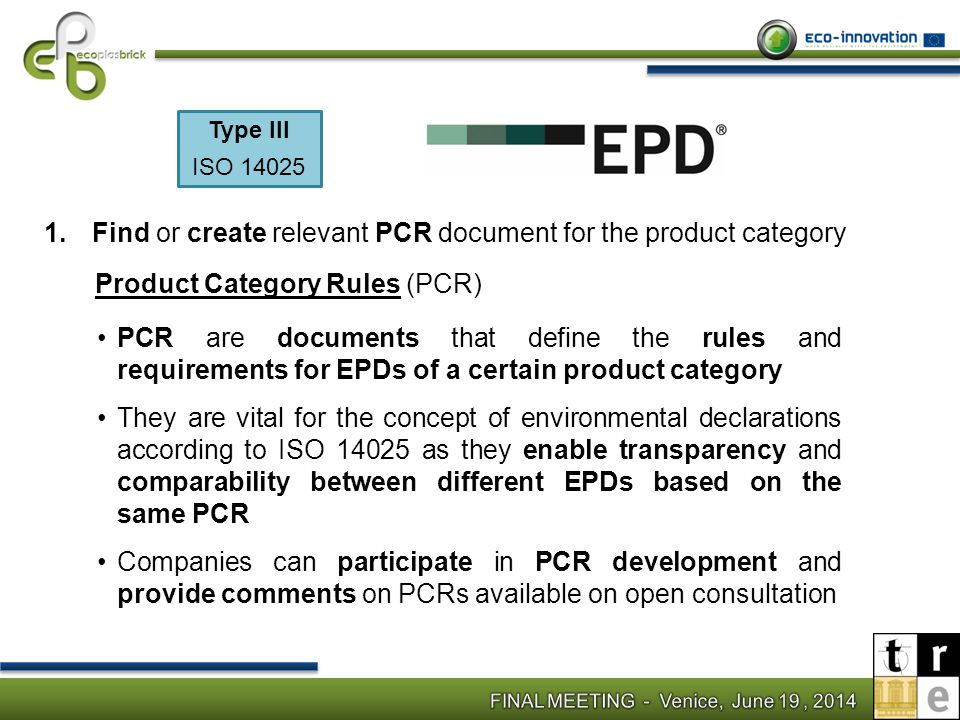 Find or create relevant PCR document for the product category