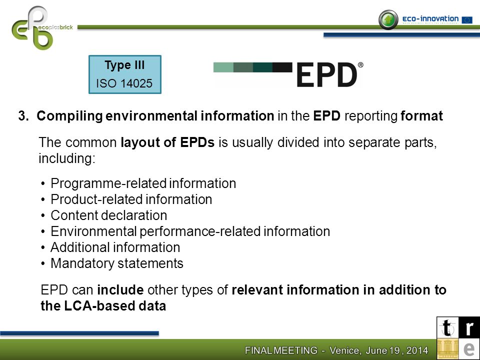 Compiling environmental information in the EPD reporting format