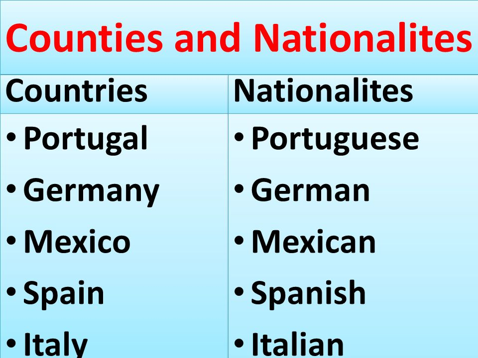Counties and Nationalites