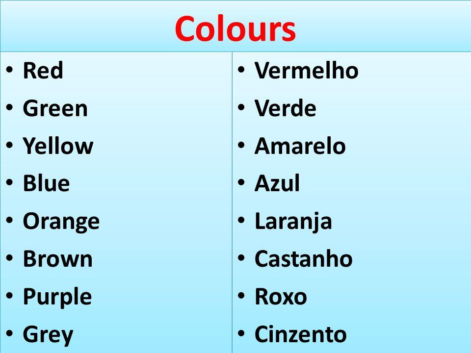 Colours Red Green Yellow Blue Orange Brown Purple Grey Vermelho Verde