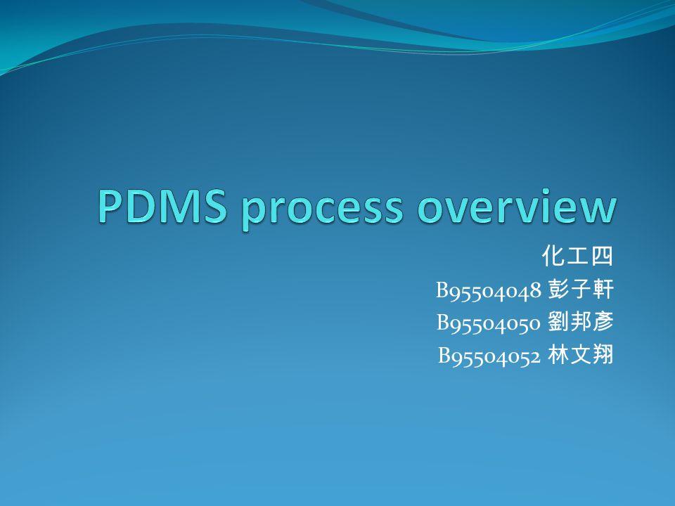 PDMS process overview 化工四 B95504048 彭子軒 B95504050 劉邦彥 B95504052 林文翔