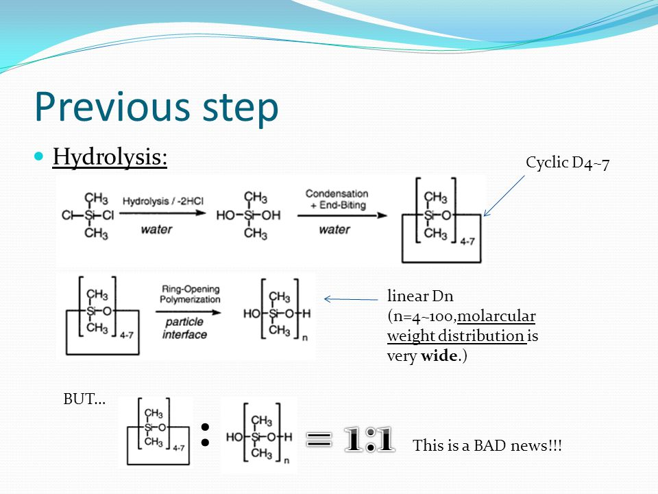 : = 1:1 Previous step Hydrolysis: Cyclic D4~7