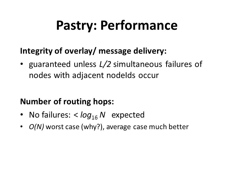 Pastry: Performance Integrity of overlay/ message delivery: