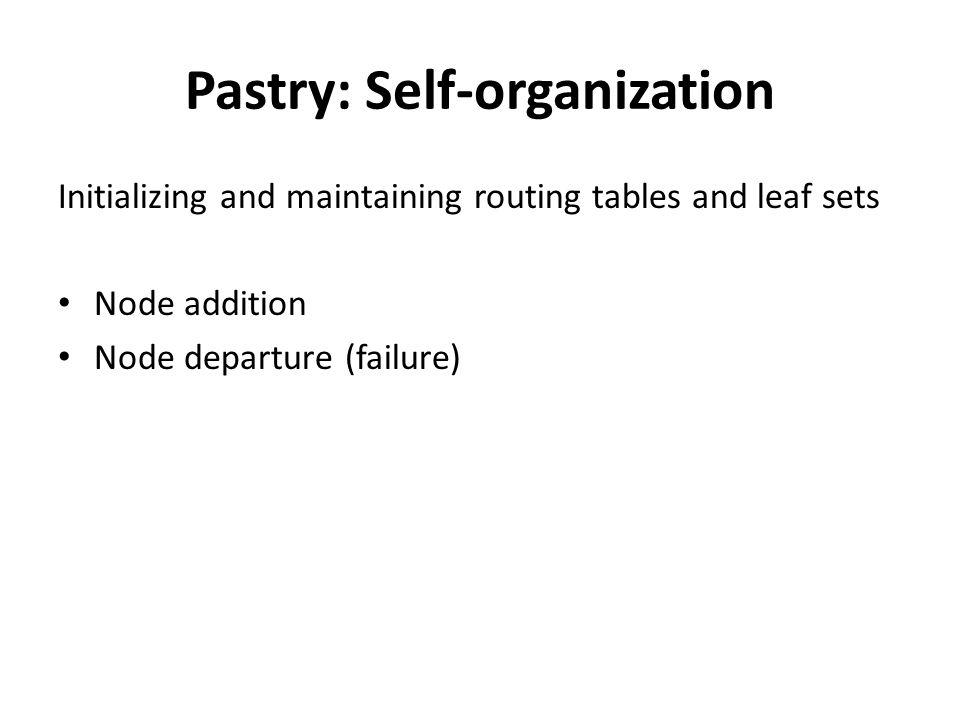 Pastry: Self-organization