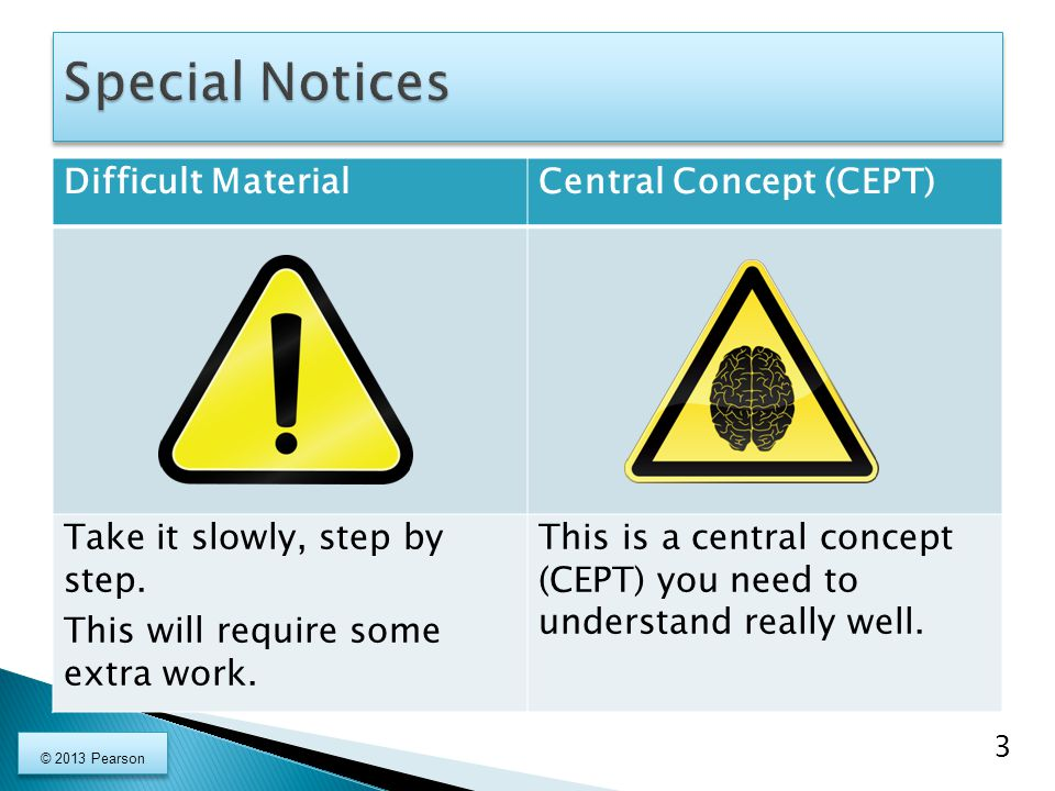 Special Notices Difficult Material Central Concept (CEPT)