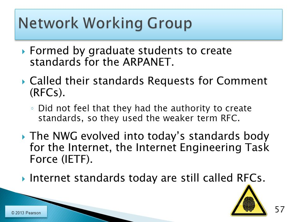 Network Working Group Formed by graduate students to create standards for the ARPANET. Called their standards Requests for Comment (RFCs).