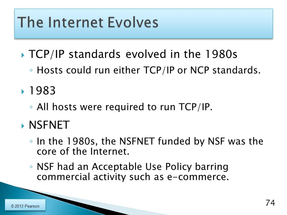 The Internet Evolves TCP/IP standards evolved in the 1980s 1983 NSFNET