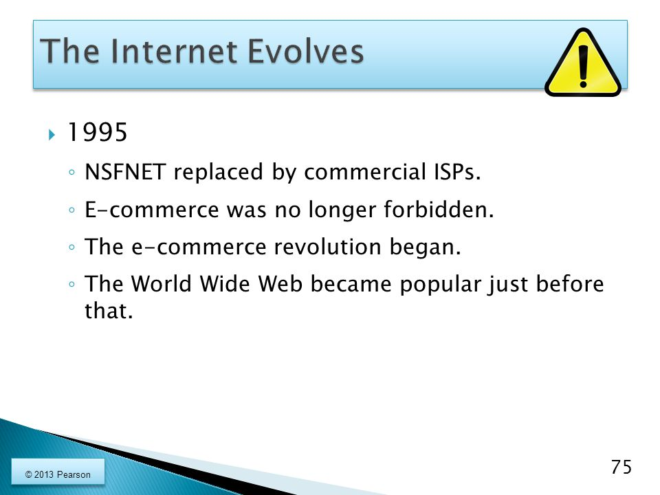 The Internet Evolves 1995 NSFNET replaced by commercial ISPs.