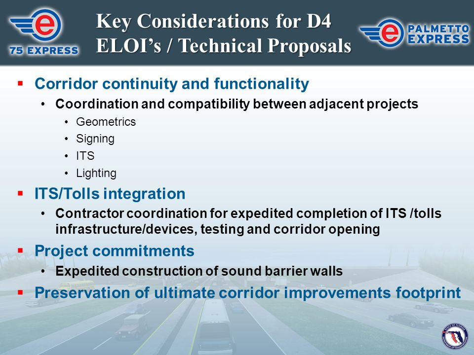 Key Considerations for D4 ELOI's / Technical Proposals