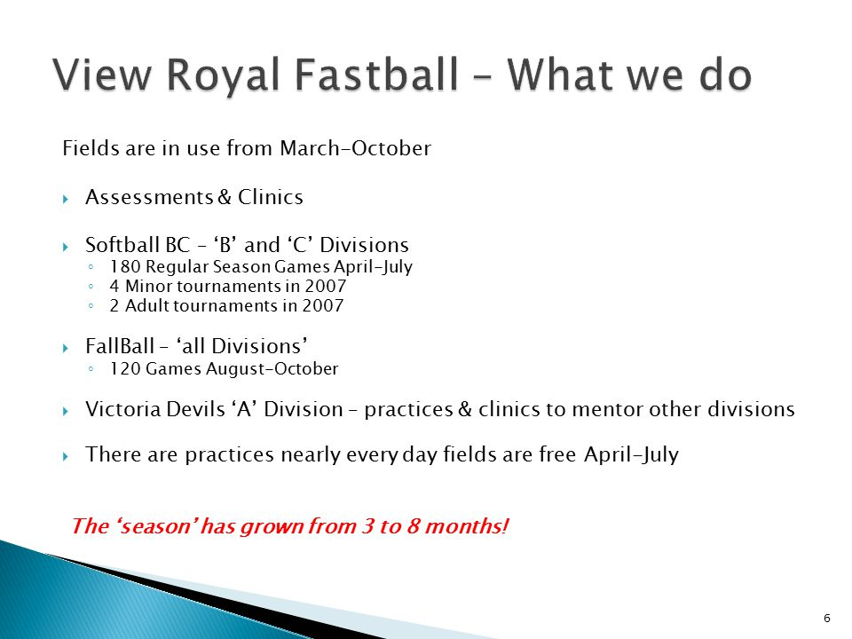 View Royal Fastball – What we do