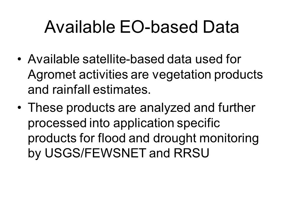 Available EO-based Data