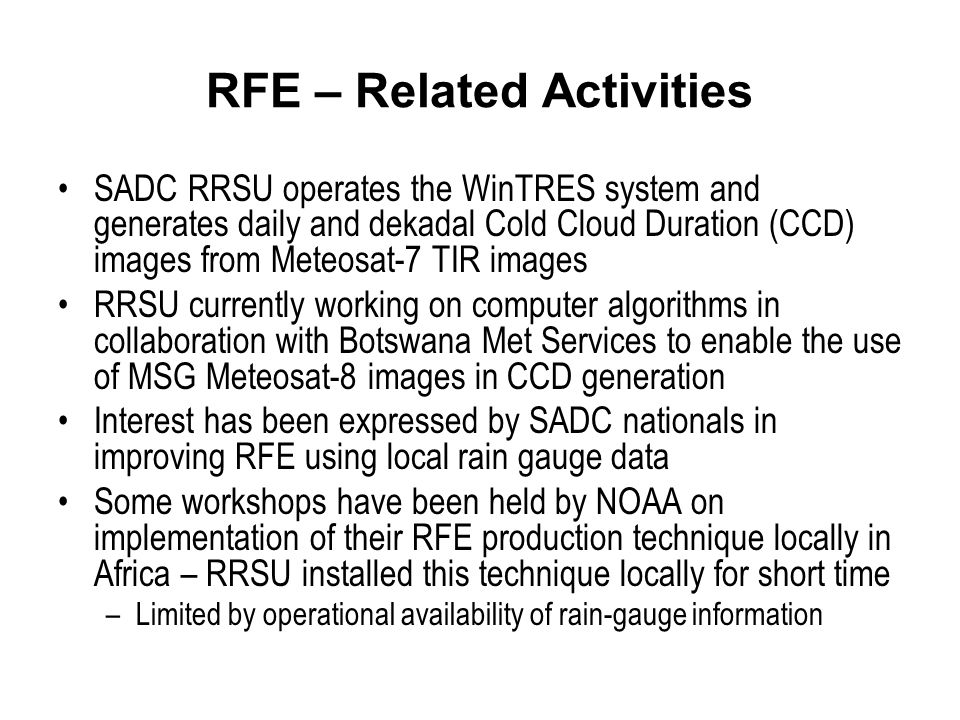 RFE – Related Activities