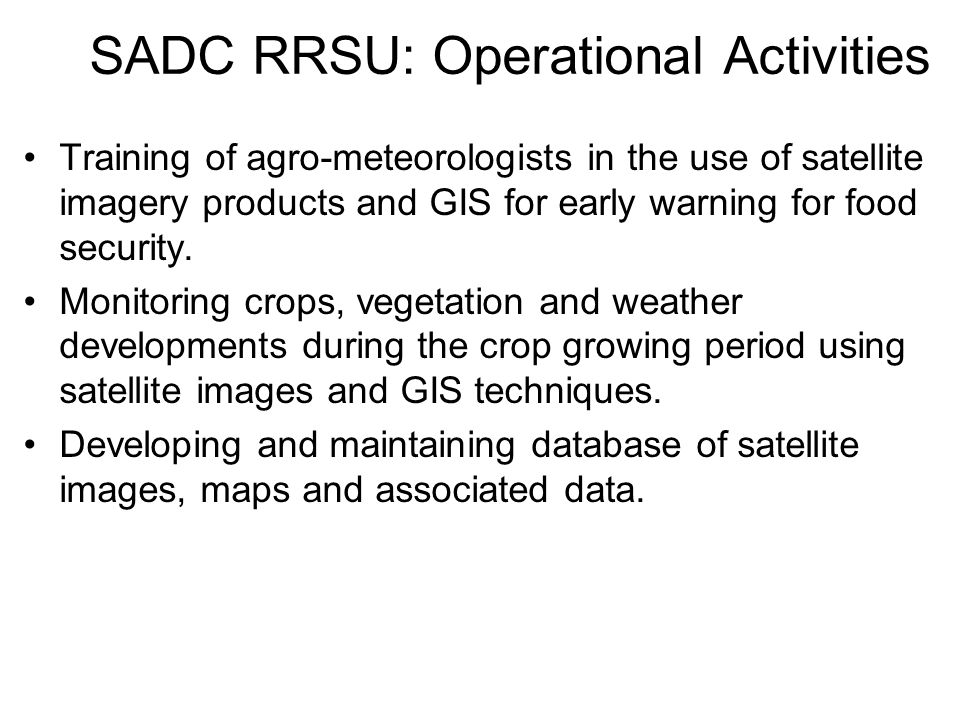 SADC RRSU: Operational Activities