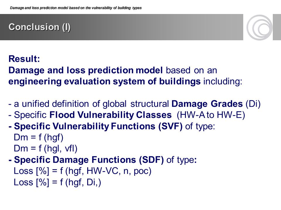 - a unified definition of global structural Damage Grades (Di)
