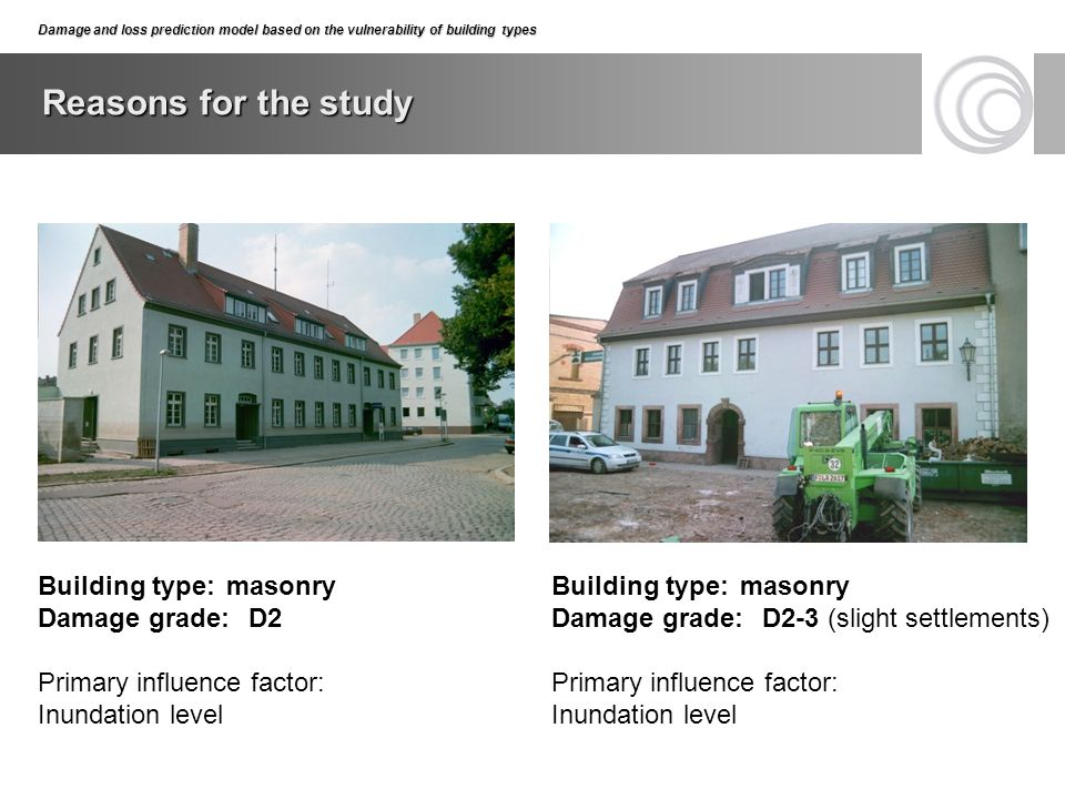 Reasons for the study Building type: masonry Damage grade: D2