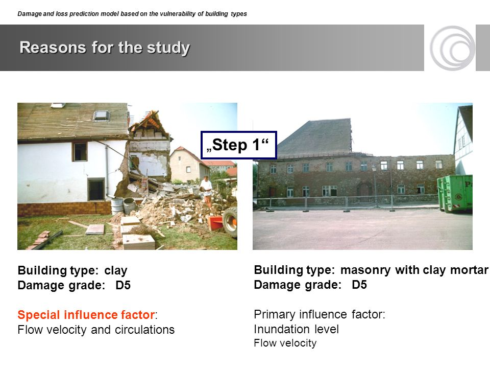 "Reasons for the study ""Step 1 Building type: clay Damage grade: D5"