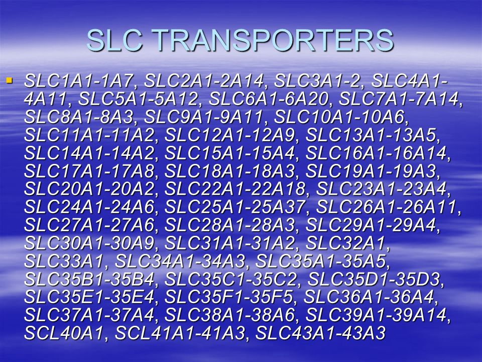 SLC TRANSPORTERS