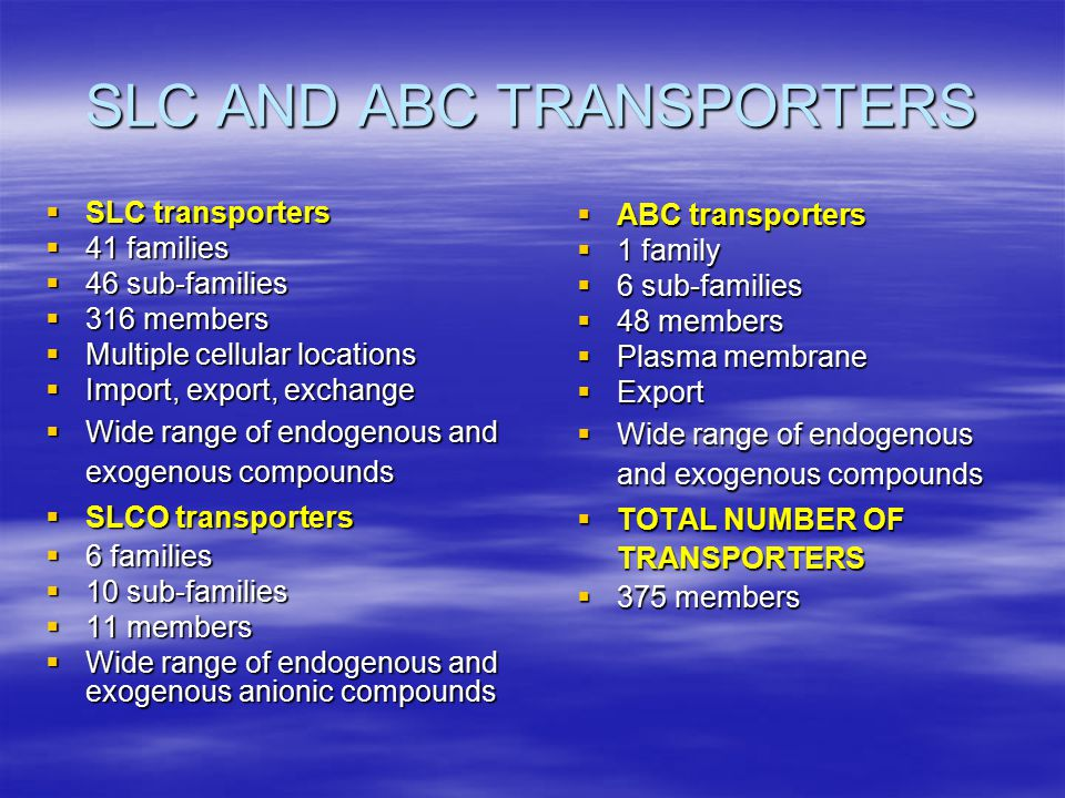 SLC AND ABC TRANSPORTERS