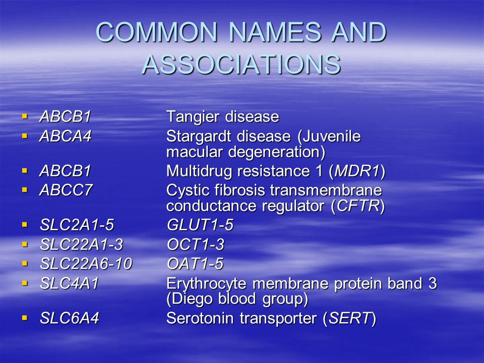 COMMON NAMES AND ASSOCIATIONS