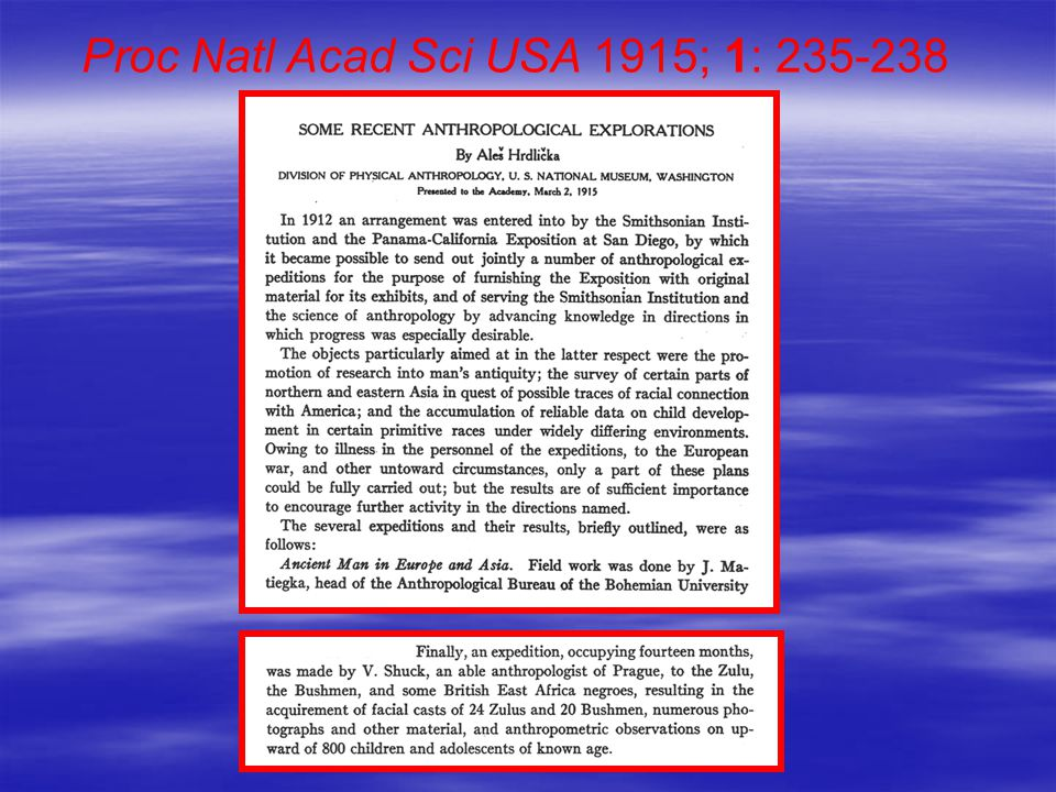 Proc Natl Acad Sci USA 1915; 1: 235-238
