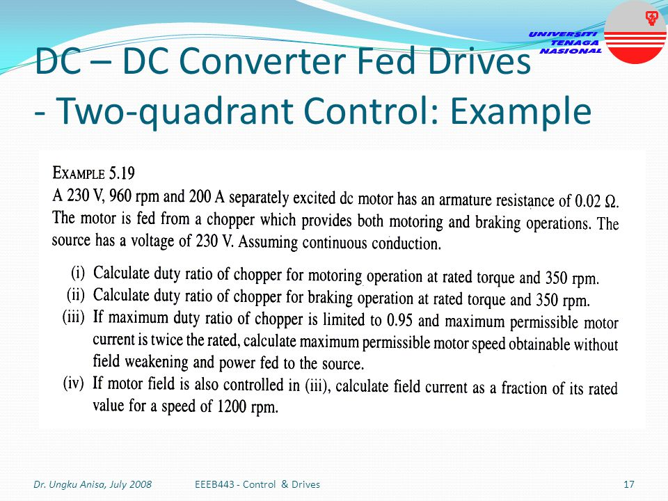 DC – DC Converter Fed Drives - Two-quadrant Control: Example