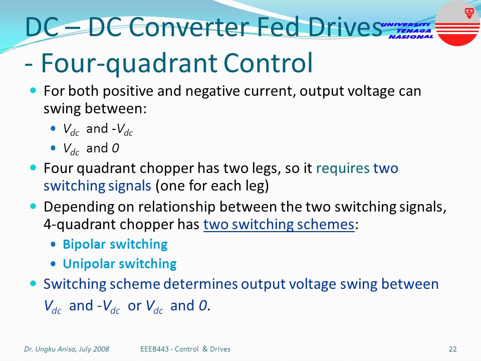 DC – DC Converter Fed Drives - Four-quadrant Control