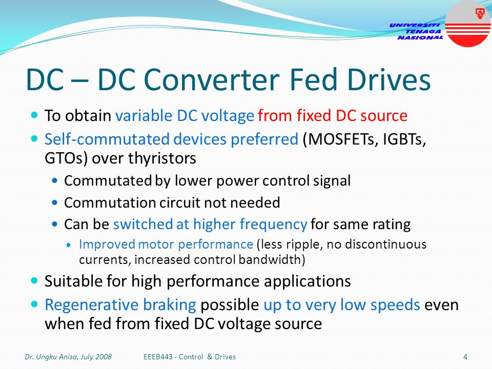 DC – DC Converter Fed Drives