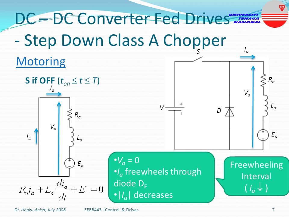 DC – DC Converter Fed Drives - Step Down Class A Chopper
