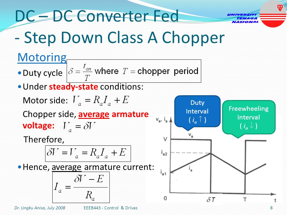 DC – DC Converter Fed - Step Down Class A Chopper
