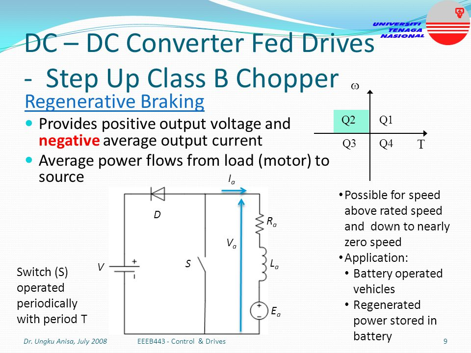 DC – DC Converter Fed Drives - Step Up Class B Chopper