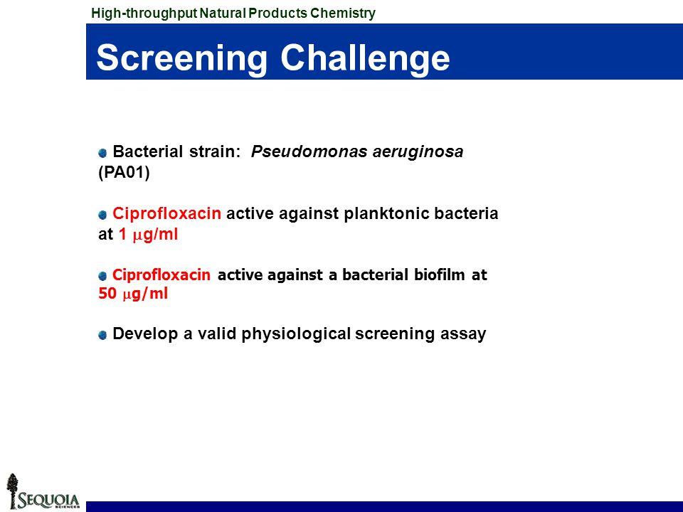 Screening Challenge Bacterial strain: Pseudomonas aeruginosa (PA01)