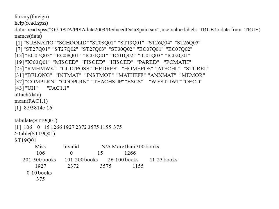 library(foreign) help(read.spss) data=read.spss( G:/DATA/PISAdata2003/ReducedDataSpain.sav , use.value.labels=TRUE,to.data.fram=TRUE)