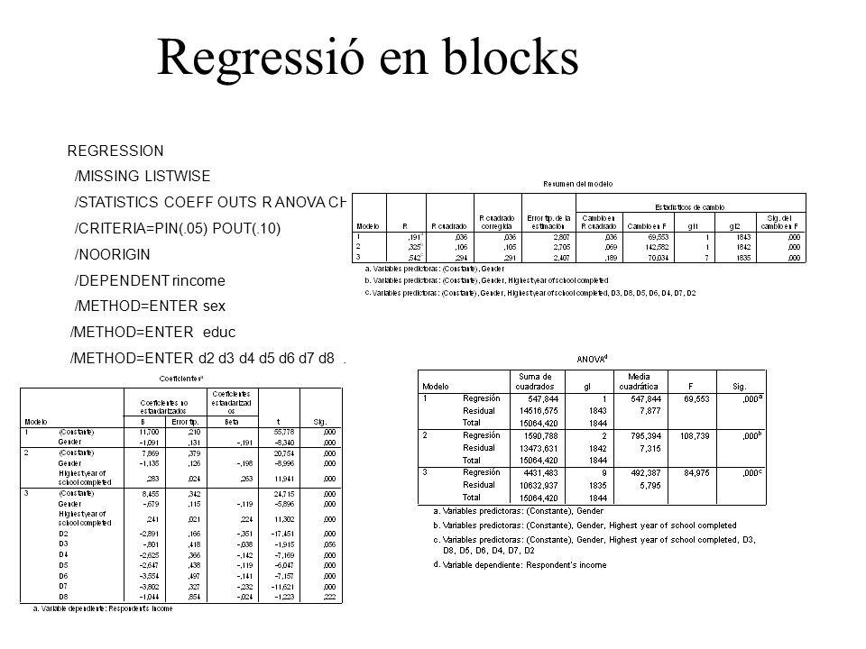 Regressió en blocks REGRESSION /MISSING LISTWISE