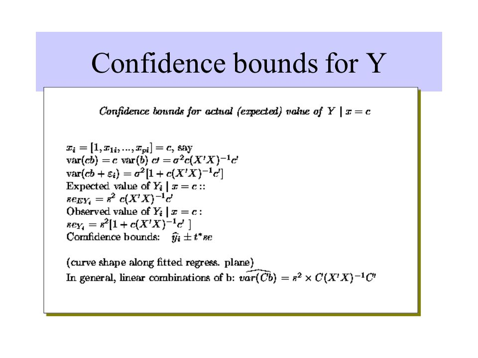 Confidence bounds for Y