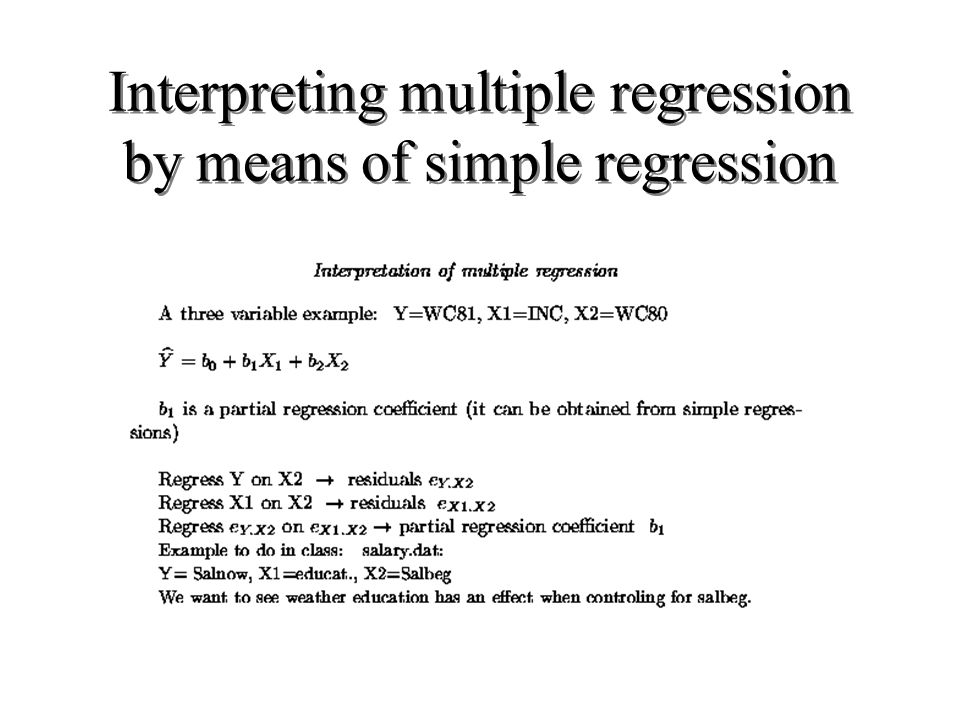 Interpreting multiple regression by means of simple regression