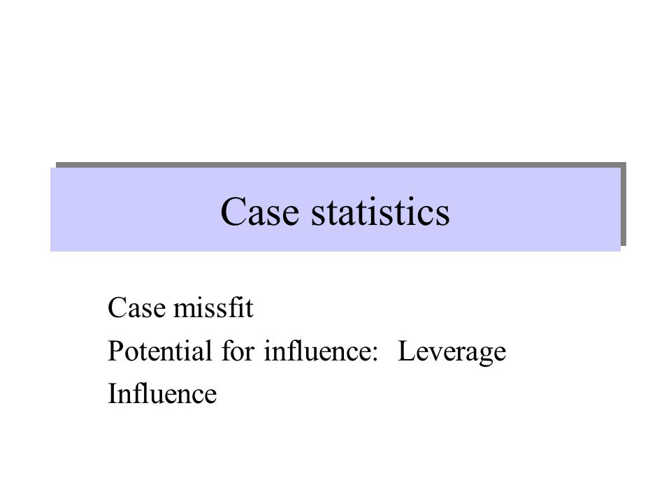 Case missfit Potential for influence: Leverage Influence