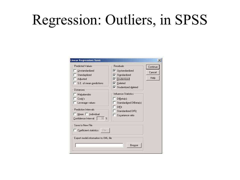Regression: Outliers, in SPSS